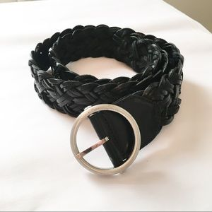 Loft Woven Black Leather Belt Size Large